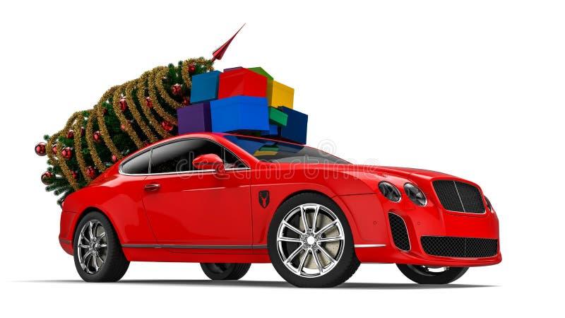 Santa Claus-Pferdeschlitten lizenzfreie abbildung