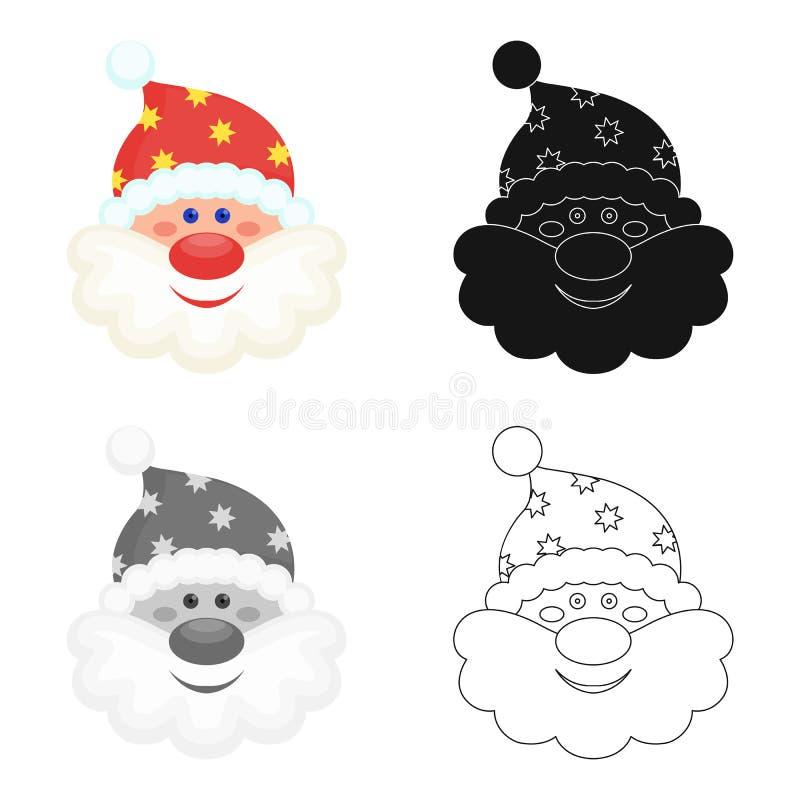 Santa Claus-pictogram in beeldverhaal, zwarte, vlakke, zwart-wit stijl voor ontwerp Web van de de voorraadillustratie van het Ker stock illustratie