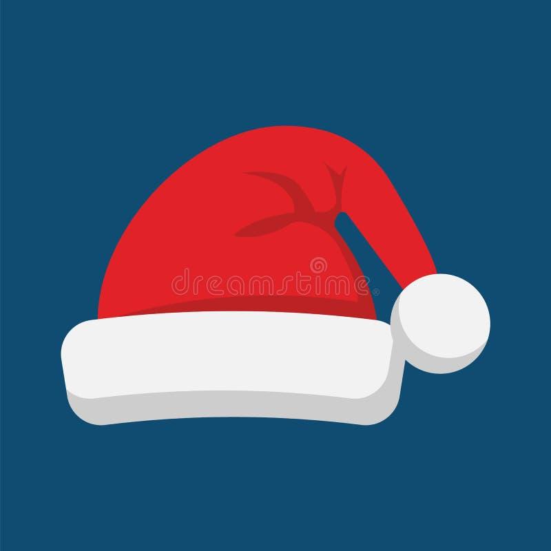 Santa Claus-pictogram van de hoeden het vlakke stijl Vector illustratie royalty-vrije illustratie