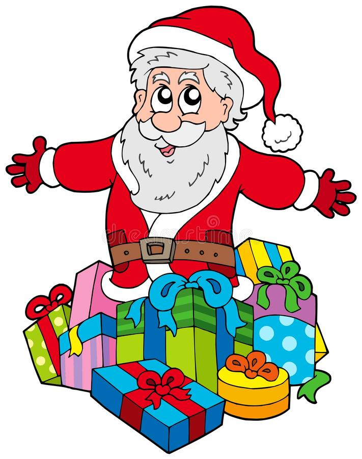 Santa Claus with pile of gifts