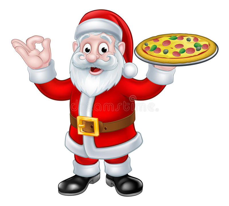 Santa Claus Pizza Christmas Cartoon Character stock illustratie