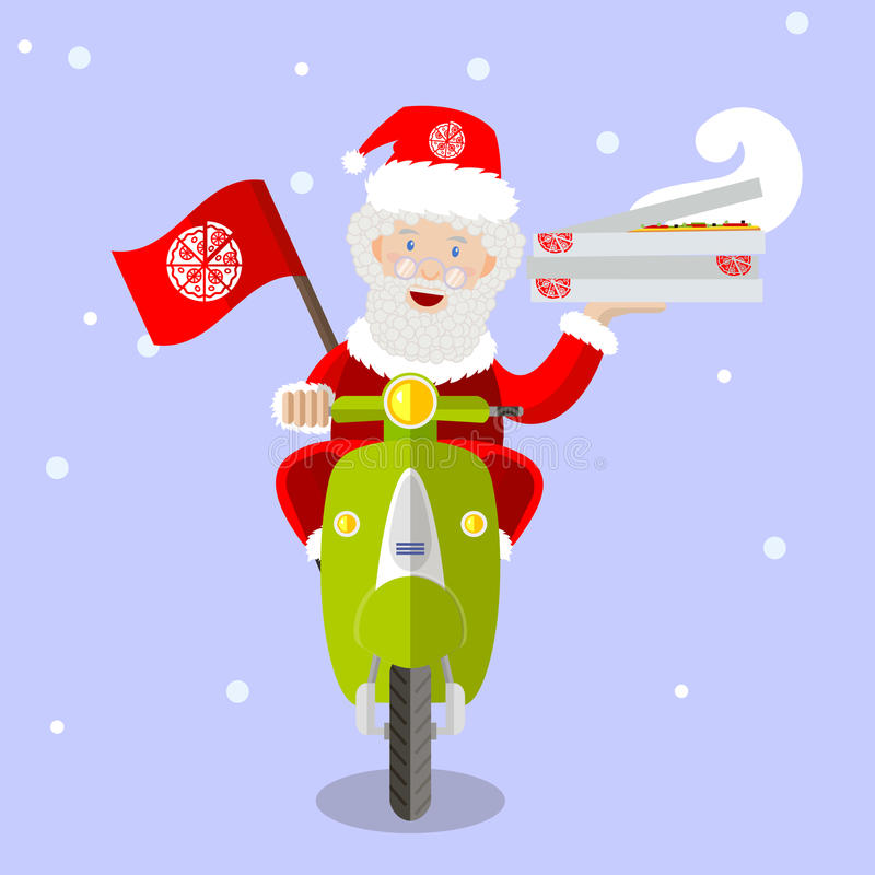 Santa Claus pizza delivery man on scooter stock illustration