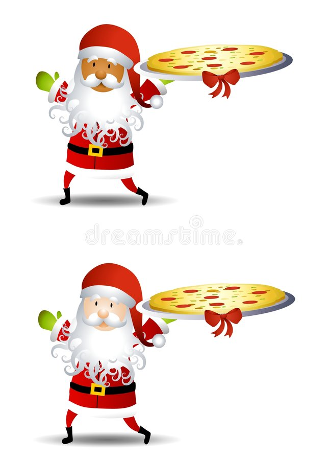 Santa Claus Pizza Platter 2. An illustration featuring Santa Claus holding a pizza platter topped with a bow - caucasian and african american royalty free illustration