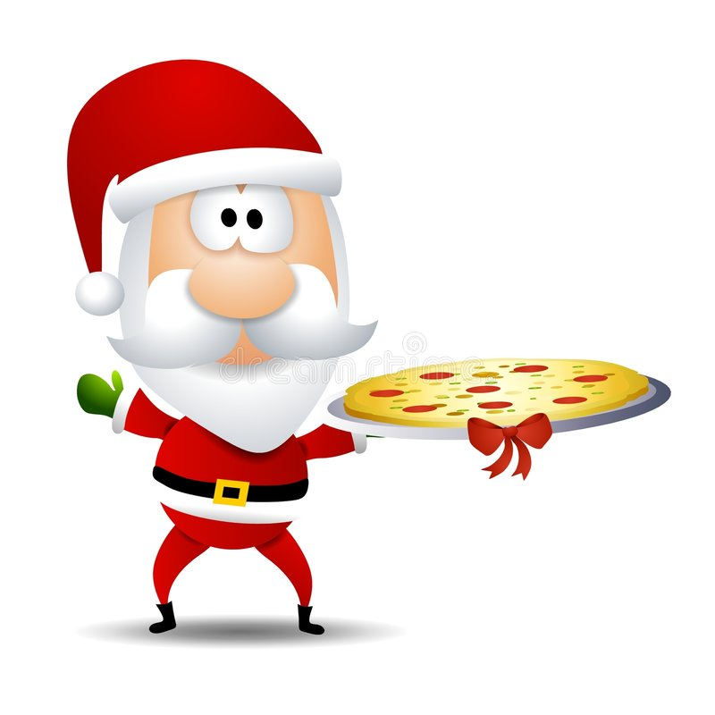 Santa Claus Pizza Platter. An illustration featuring Santa Claus holding a pizza platter topped with a bow vector illustration