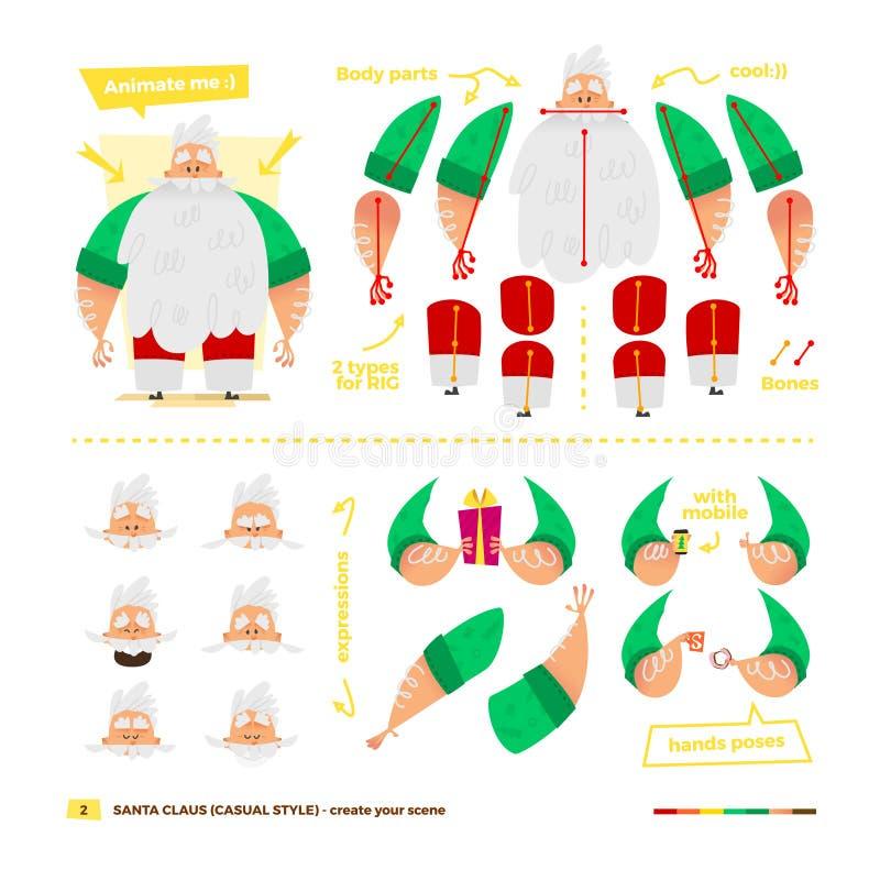 Santa Claus a placé pour l'animation illustration de vecteur