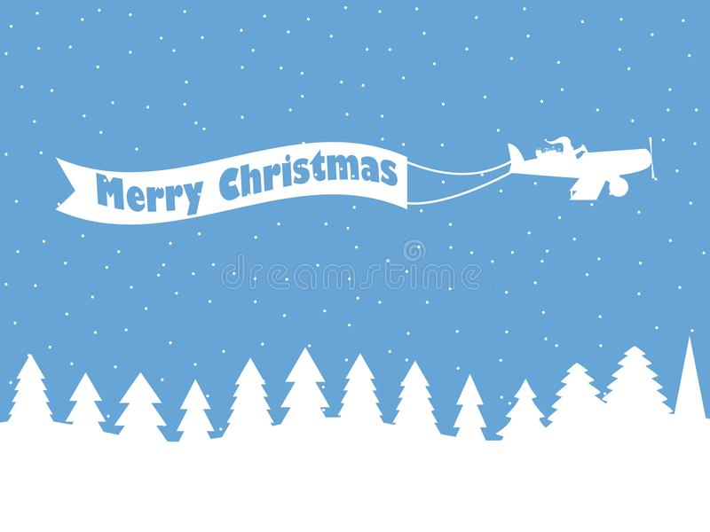 Santa Claus on a plane with a ribbon. Winter background with falling snow. White contour of Christmas trees. Vector royalty free illustration