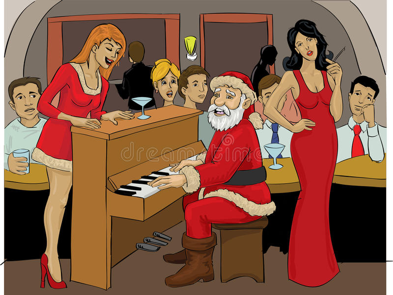 Santa Claus playing piano. Color illustration of santa claus playing piano inside a bar with two santa helpers beside him in christmas night royalty free illustration
