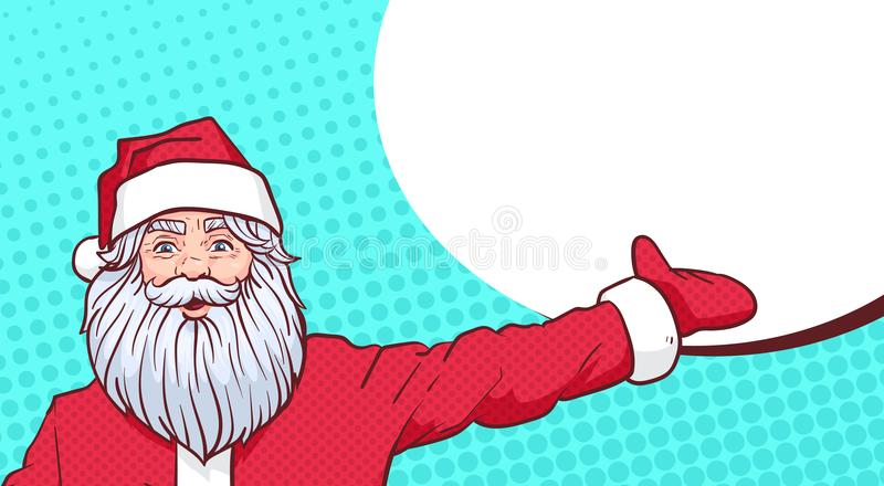 Santa Claus Pointing Hand To Chat Bubble Copy Space Over Pop Art Comic Background Merry Christmas And Happy New Year royalty free illustration