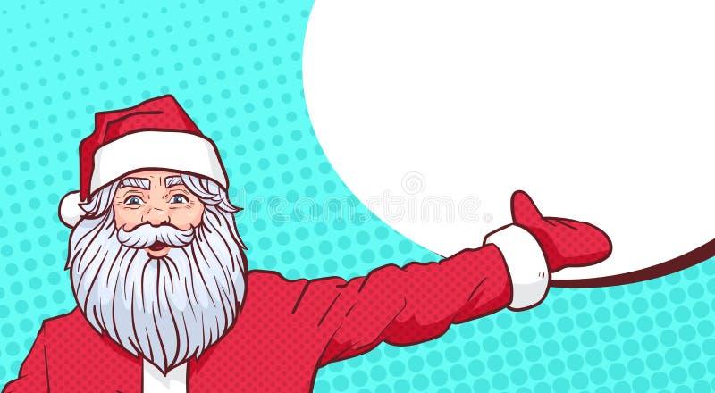 Santa Claus Pointing Hand To Chat-de Ruimte van het Bellenexemplaar over Pop Art Comic Background Merry Christmas en Gelukkig Nie royalty-vrije illustratie