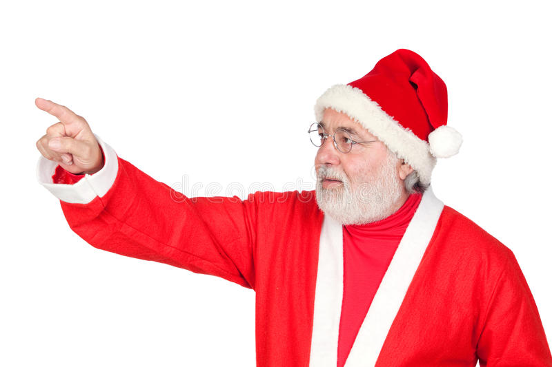 Santa Claus pointing with his finger