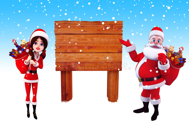 Download Santa Claus Pointing Towards A Wooden Sign Stock Illustration - Image: 26828715