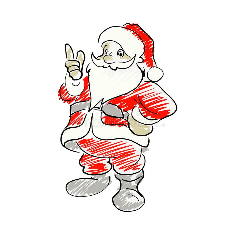 Santa claus pointing up vector illustration sketch hand drawn is vector illustration