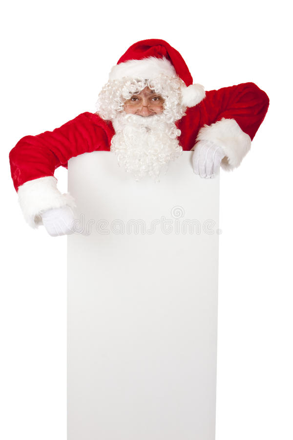 Free Santa Claus Points On Christmas Advertisment Sign Stock Image - 12219511