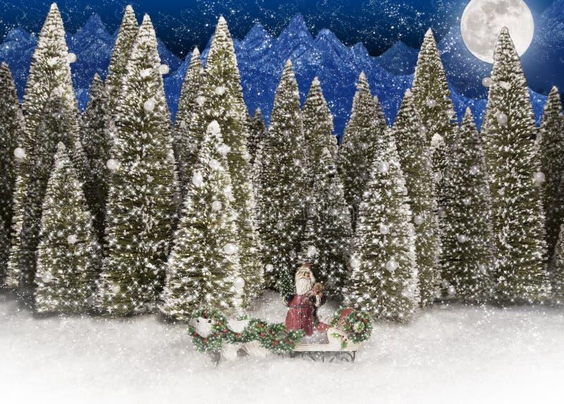 Santa Claus Polar Bear Forest ilustração royalty free