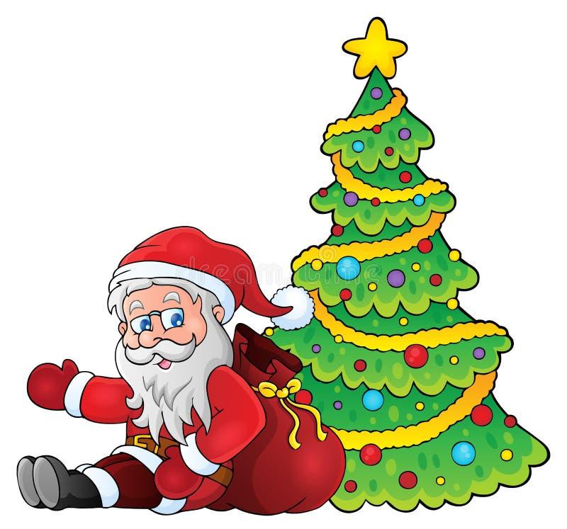 Santa Claus por el tema 1 del árbol de navidad libre illustration