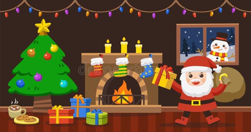 Santa Claus porta il sacco con i regali per il Natale royalty illustrazione gratis