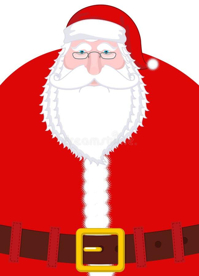 Santa Claus Portrait Julmorfar med det vita skägget och rött stock illustrationer