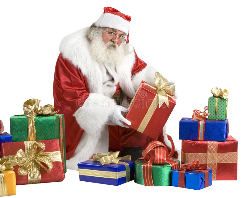 download santa claus portrait with presents stock photo image of kringle cheerful 3819936 - Santa Claus Presents