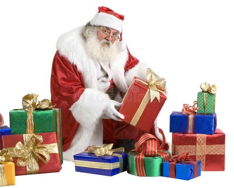 Santa claus portrait with presents stock photo image