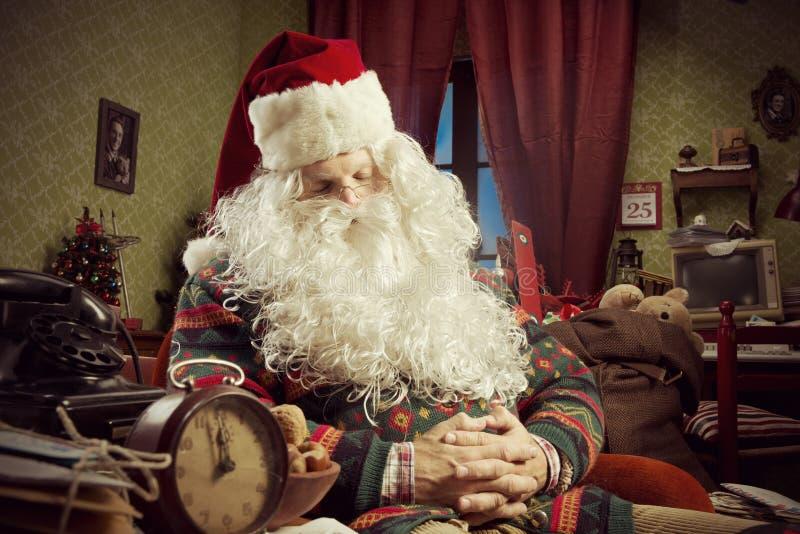 Santa Claus. Portrait of Santa Claus sleeping on armchair stock photos