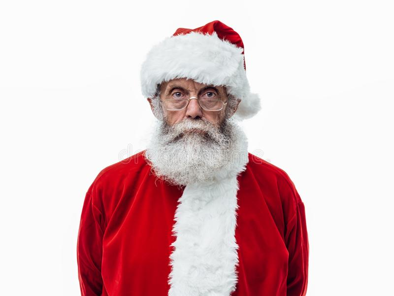 Santa Claus posing on white background royalty free stock photography