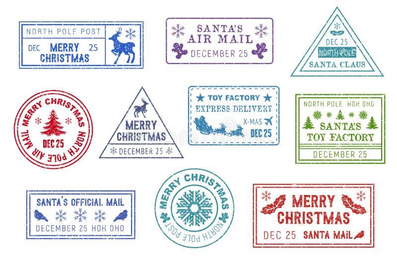 Santa Claus-post, Kerstmispostzegels royalty-vrije illustratie