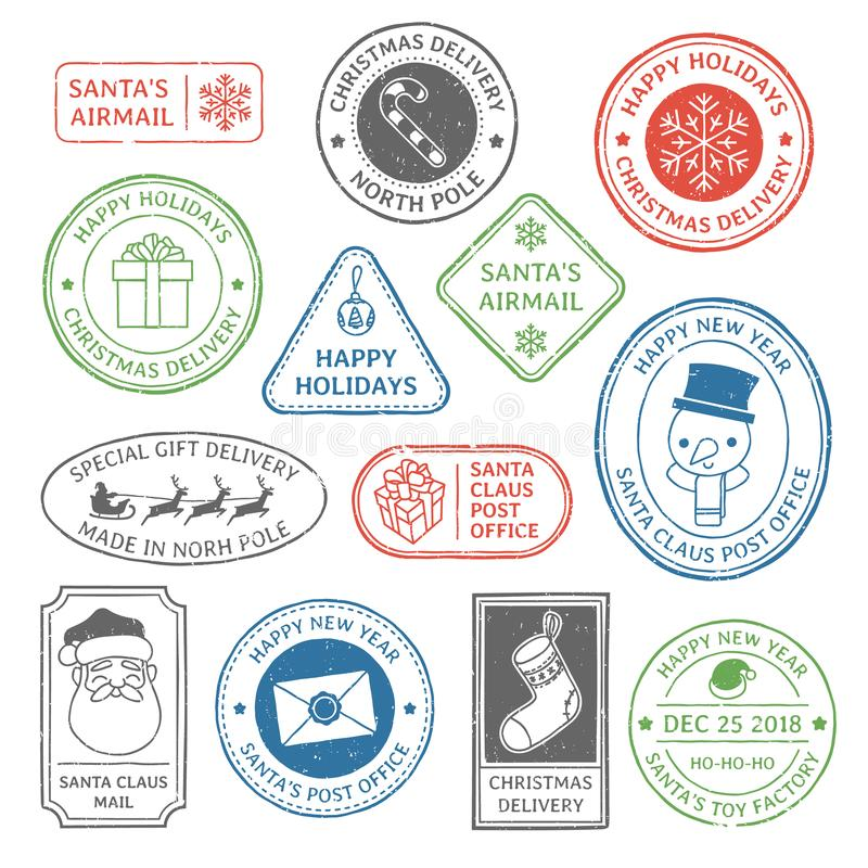 Santa Claus post stamp. Christmas mail letter stamps, north pole postmark and postage mark xmas holiday card label vector illustration