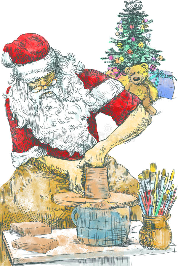 Santa Claus potter. Santa Claus himself made gifts: working on the potter's wheel (handmade Christmas gifts are the best !).Full-sized (original) hand drawing stock illustration
