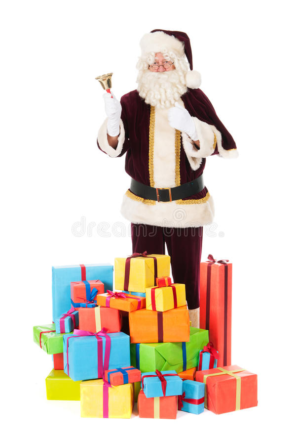 Santa Claus with presents. Portrait of Santa Claus with presents royalty free stock photo