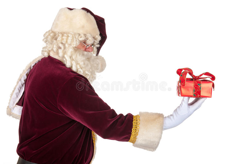 Santa Claus with presents. Portrait of Santa Claus with presents royalty free stock photography