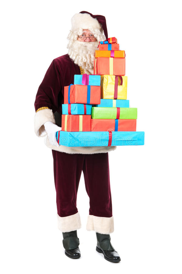 Santa Claus with presents. Portrait of Santa Claus with presents stock photography