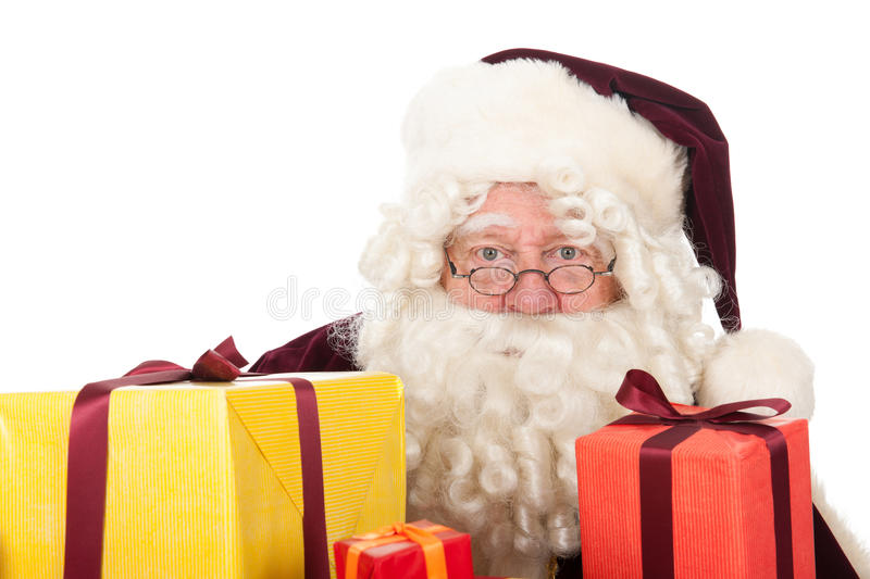 Santa Claus with presents. Portrait of Santa Claus with presents stock images