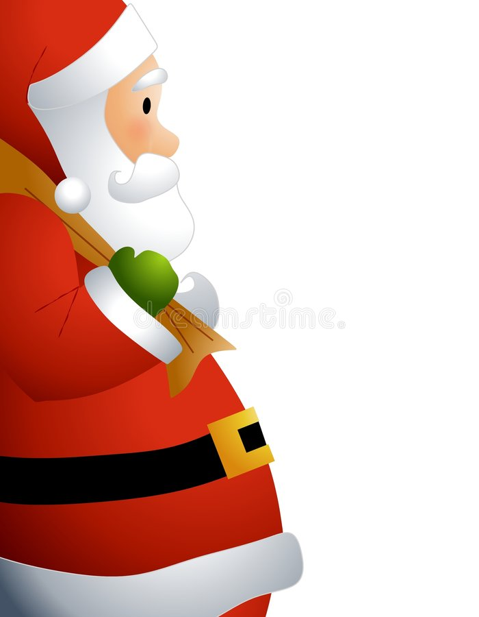 Santa Claus Profile. An illustration featuring a side view of Santa Claus with sack of toys over his shoulder royalty free illustration