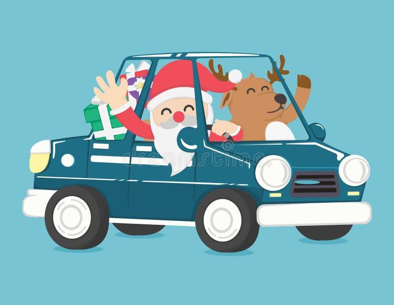 Santa Claus przejażdżka samochód pełno boże narodzenie prezent royalty ilustracja