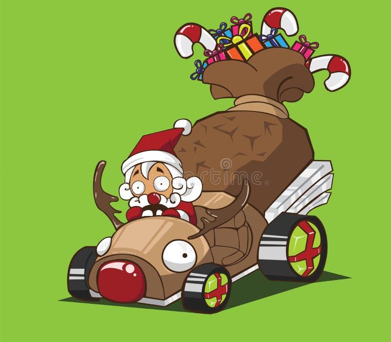 Santa Claus przejażdżka samochodowy renifera styl ilustracji