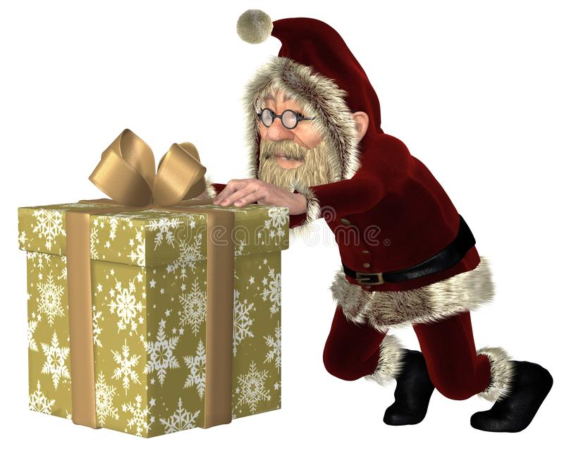 Santa Claus Pushing a Christmas Gift