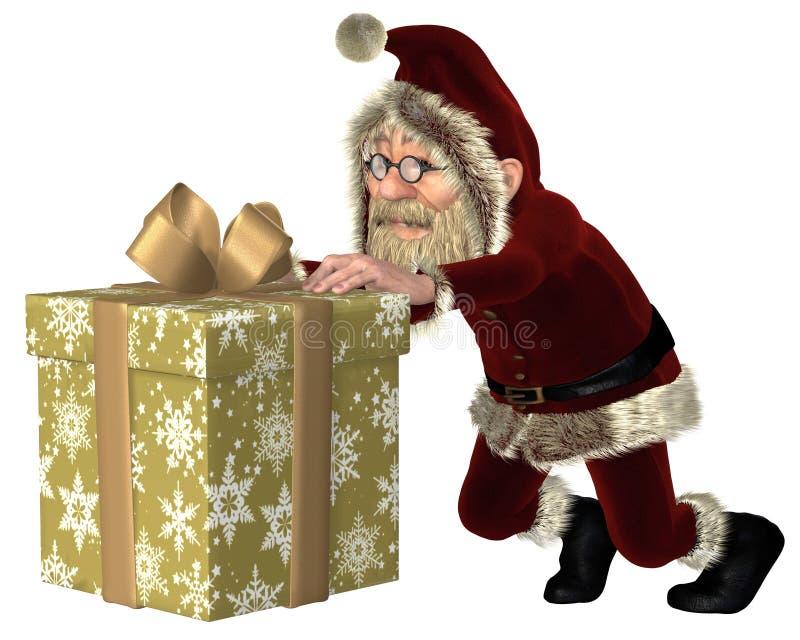 Santa Claus Pushing Ein Weihnachtsgeschenk Stockbilder