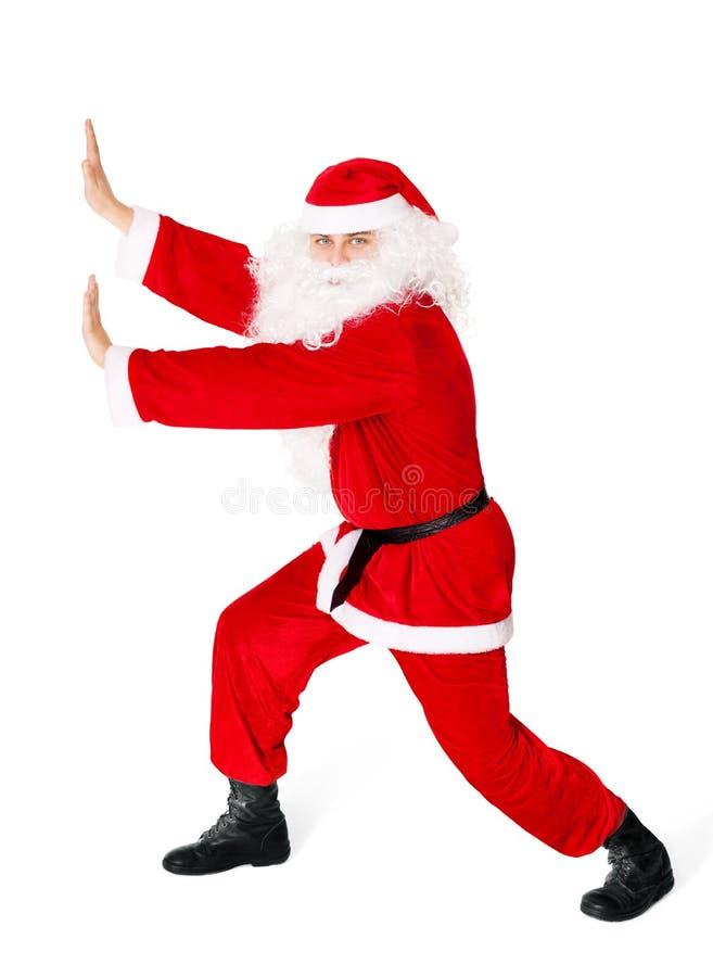 Download Santa Claus Pushing Something Isolated On White Stock Image - Image: 27903007