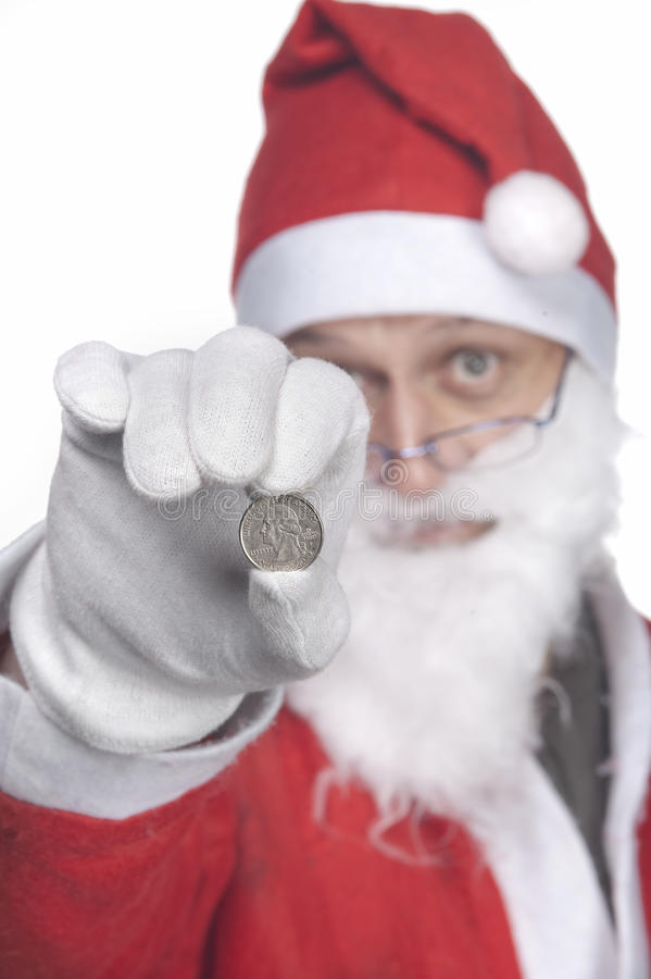 Santa Claus with a quarter dollar stock image