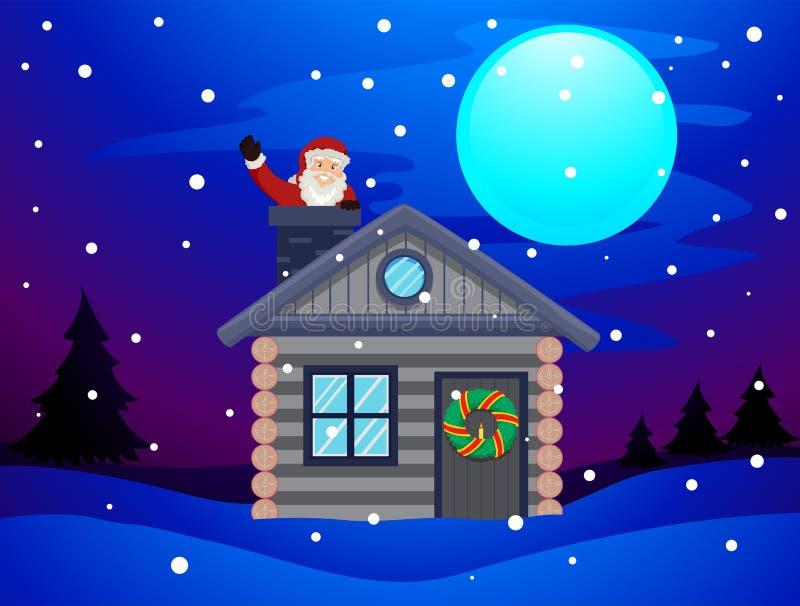 Santa Claus que acena dentro da casa da chaminé ilustração stock