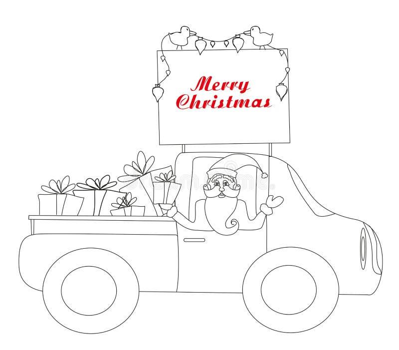 Santa Claus que conduce el coche con los regalos de la Navidad - libro de colorear ilustración del vector