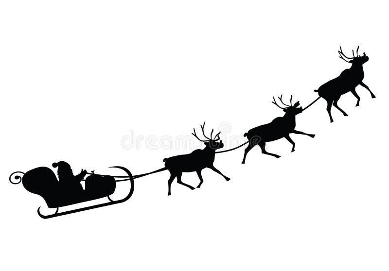 Santa Claus que conduce en un trineo stock de ilustración