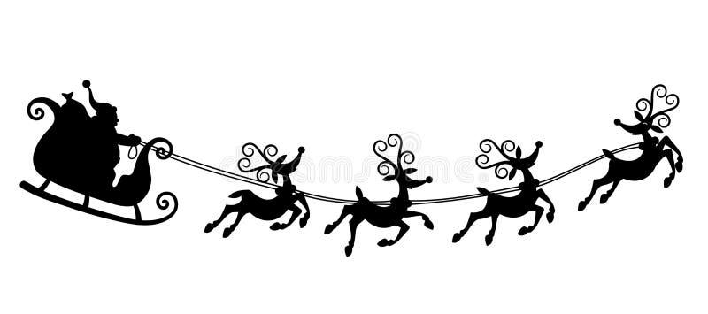 Santa Claus que conduz o trenó ilustração royalty free
