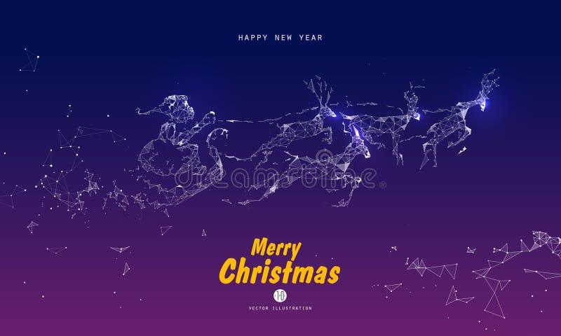 Santa Claus que dá presentes, pontos, linhas, caras compostas das ilustrações ilustração royalty free