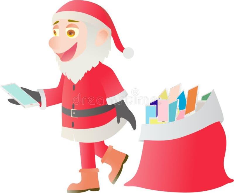 Santa Claus que entrega o androide no Natal fotos de stock royalty free