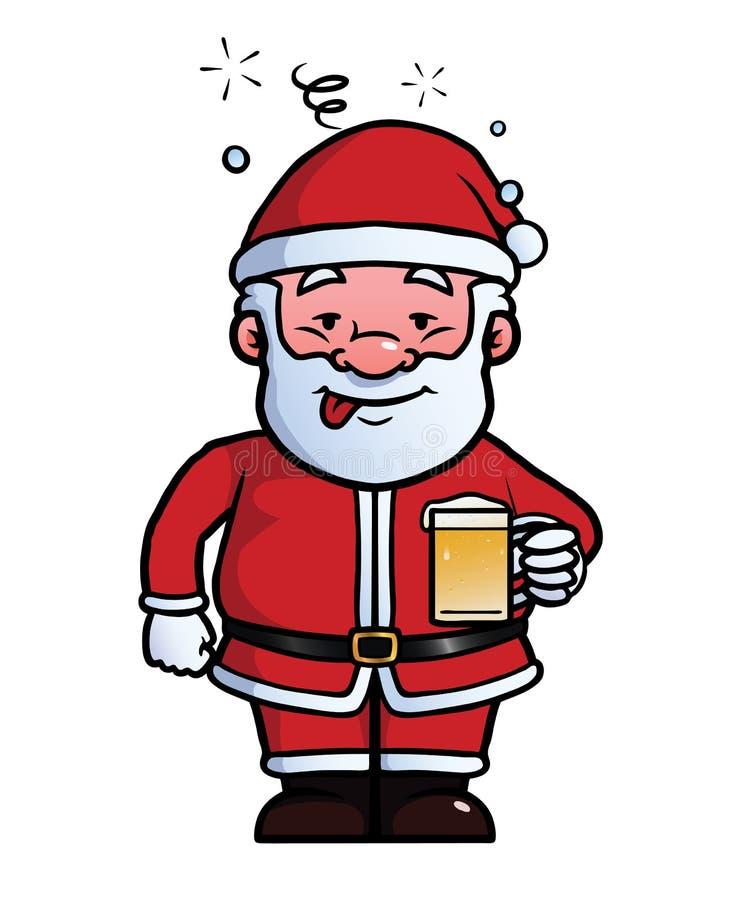 Santa Claus que está sendo bebida ilustração do vetor