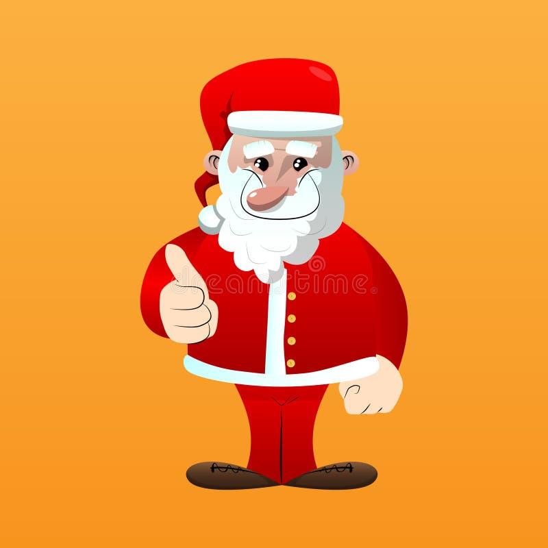 Santa Claus que faz os polegares acima do sinal ilustração stock