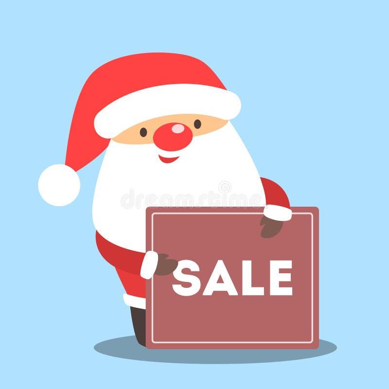 Santa Claus que guarda a bandeira com venda do Natal ilustração do vetor