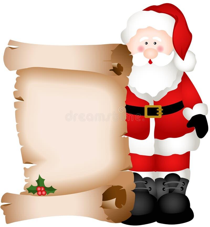 Santa Claus que guarda o pergaminho do Natal ilustração do vetor