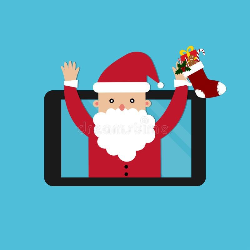 Santa Claus que guarda a peúga e a notificação do Natal no vetor do smartphone ilustração royalty free